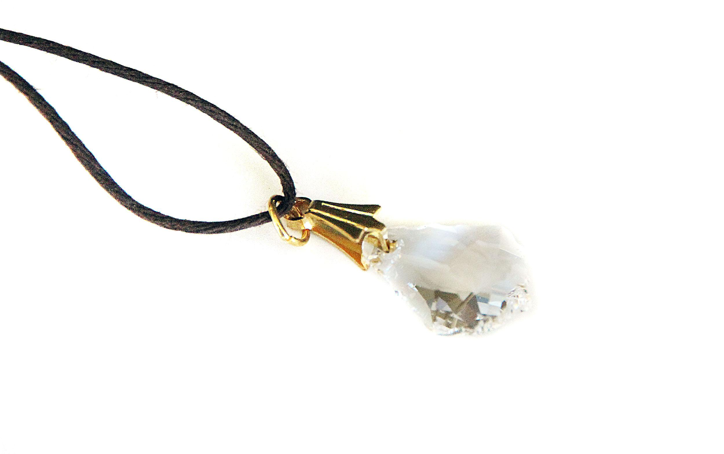 Waooh - Jewelry - Swarovski / teardrop pendant White and waxed cord