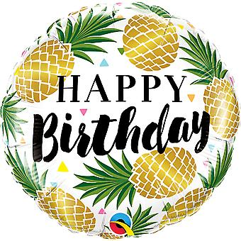 Foil balloon of happy birthday Golden pineapple birthday cocktail approximately 45 cm