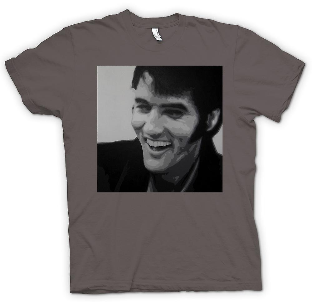 Mens t-shirt-Elvis Presley sorridente - BW - Pop Art