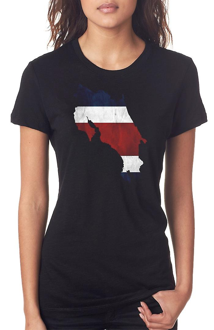 Costa Rica Costa Rican  Flag Map Ladies T Shirt
