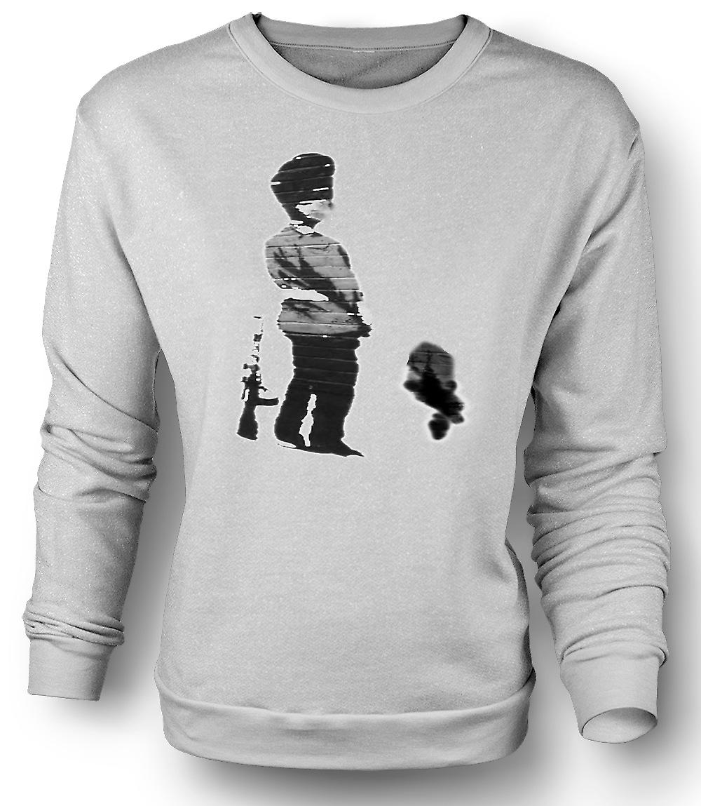 Mens Sweatshirt Banksy Graffiti Art - Soldier
