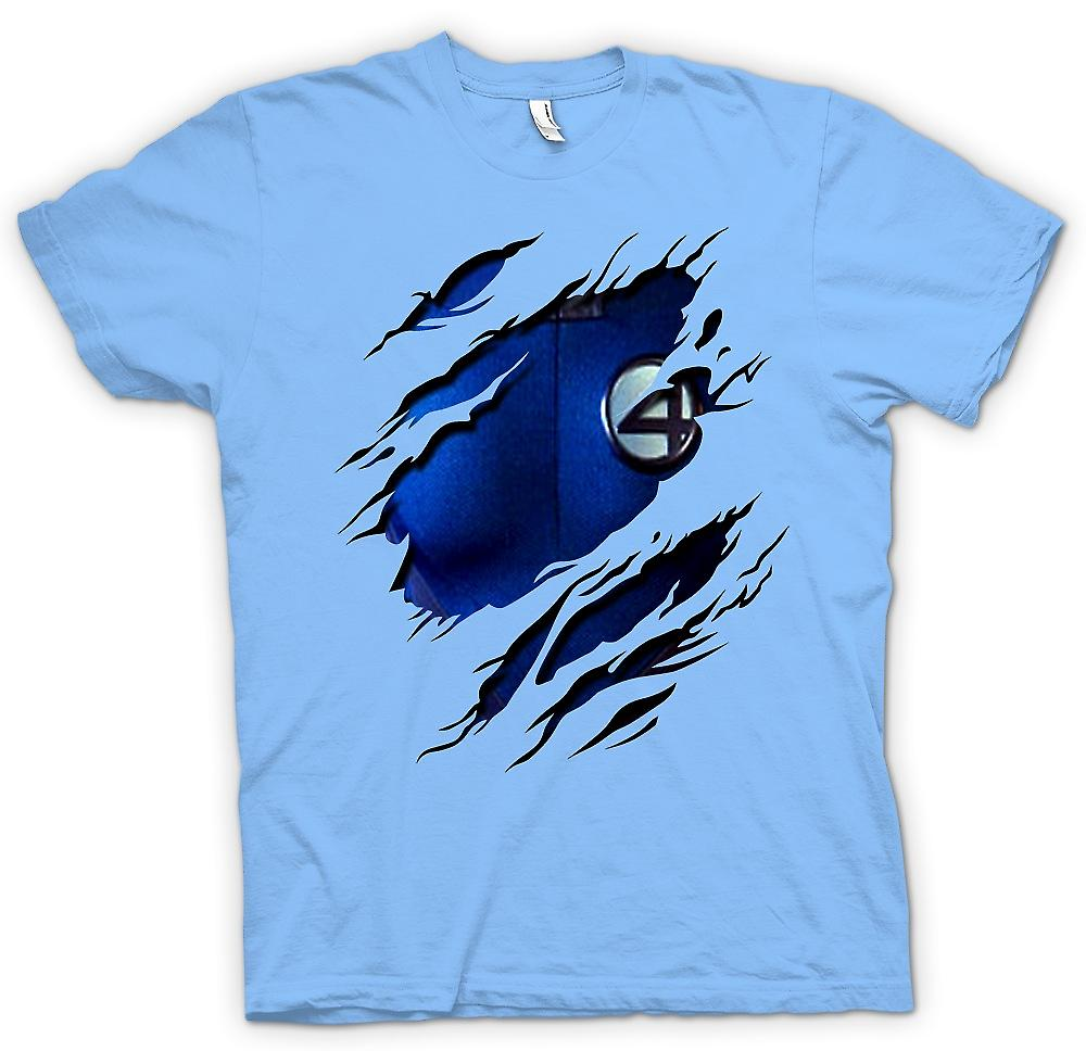 Mens T-shirt - Reed richards Mr Fantastic - Fantastic 4 Costume - Superhero Ripped Design