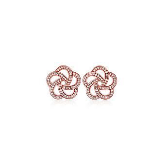 Fleur plate Rose Gold and Cubic Zirconia white earrings