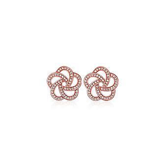Fleur płyta Rose Gold i cyrkonia biały kolczyki
