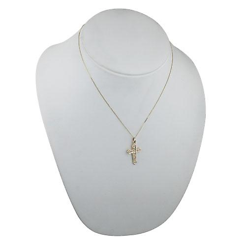 9ct Gold 28x17mm Fancy embossed pattern Cross with a curb chain