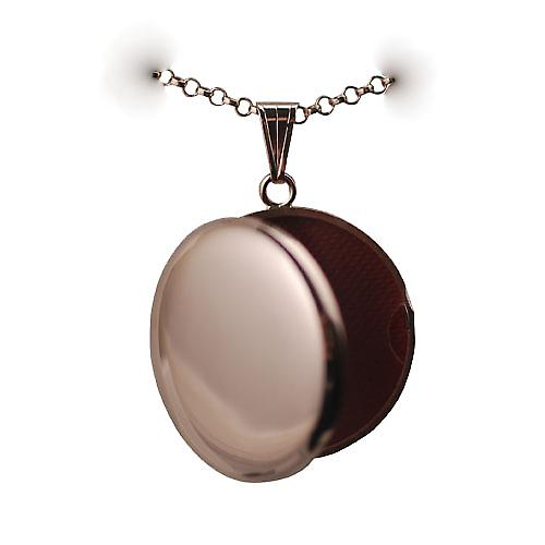 9ct Rose Gold 29mm plain round Locket with a belcher chain