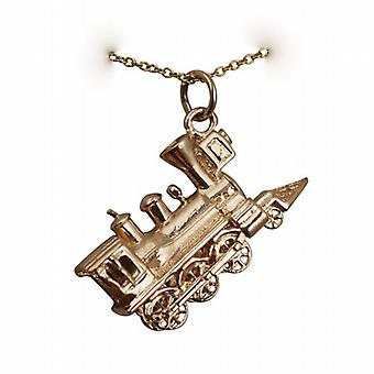 9ct Gold 16x27mm solid Steam Locomotive Pendant with a cable Chain 16 inches Only Suitable for Children