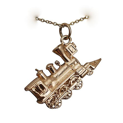 9ct Gold 16x27mm solid Steam Locomotive Pendant with Cable link chain