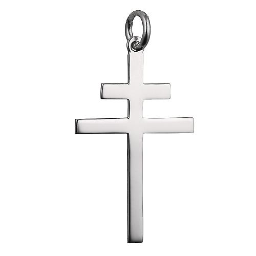 Silver 32x21mm plain Cross of Lorraine with a rolo Chain 14 inches Only Suitable for Children