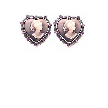 Quality Cameo Jewelry Heart Shaped Cameo Earrings w/ Amethyst Crystals