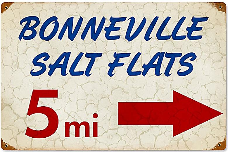 Bonneville Salt Flats rusted metal sign (pst 1812)