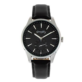 Simplify The 6600 Series Leather-Band Watch - Black