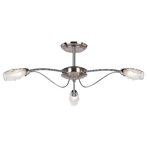 Endon 9009-3SC Modern 3 Arm Satin-Polished Chrome Semi Flush Ceiling Light