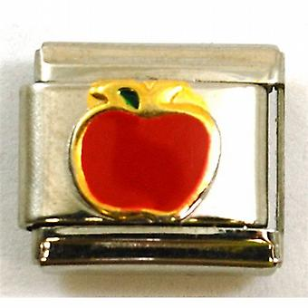 Red Enamel Apple Stainless Steel Italian Charm