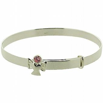 Jo For Girls Sterling Silver October Pink Simulated Birthstone Angel Bangle