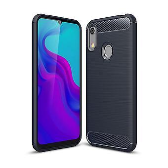 Huawei A6 2019 TPU étui en fibre de carbone optique brossé étui de protection bleu