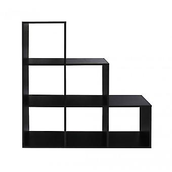 REBECCA Furniture Bookcase Ground shelf Black 6 compartments MDF book order