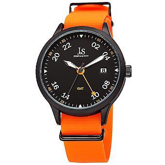 Joshua & Son's JX147OR Men's Designer Watch – Comfortable Silicone Strap, Print Dial, Polished Bezel, Date Window, Quartz Movement - Casual Spor