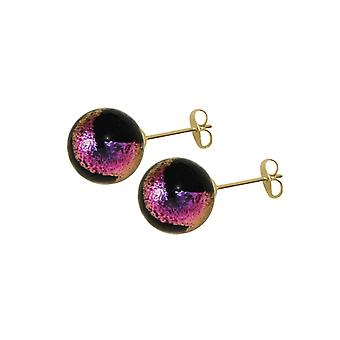 Eternal Collection Bellissimo Black/Magenta Murano Glass Gold Tone Stud Pierced Earrings