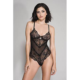 Floral Lace And Fishnet Body-Black