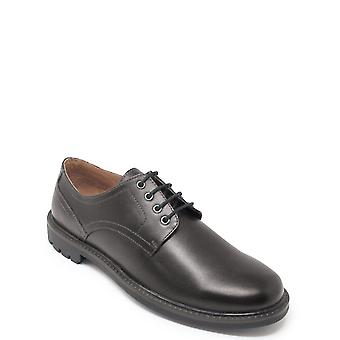 Mens Leather Lace Shoe With Rugged Outsole