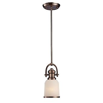 Brooksdale 1-light mini pendant in antique copper with white glass - includes led bulb elk lighting