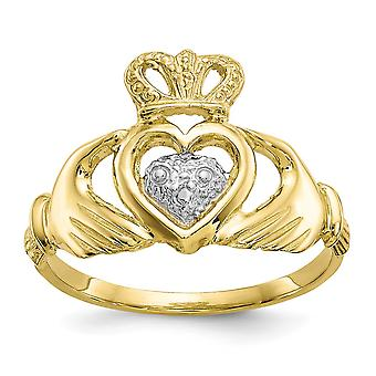 10k Yellow Gold Polished Textured back and Rhodium Claddagh Ring - 1.8 Grams