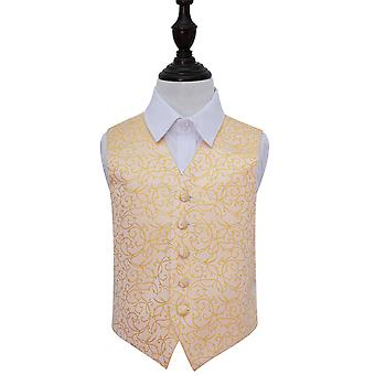 Boy's Gold Swirl Patterned Wedding Waistcoat