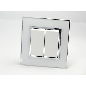 I LumoS AS Luxury White Mirror Glass Single Frame 2 Gang 1 Way Rocker Light Switches