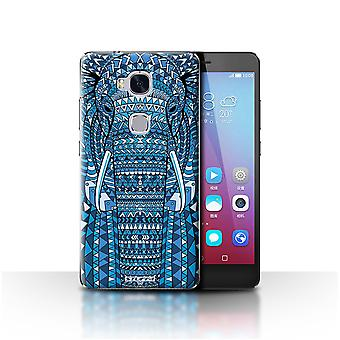 STUFF4 Custodia/Cover per Huawei Honor 5 X/GR5/elefante-Blue/Aztec animale