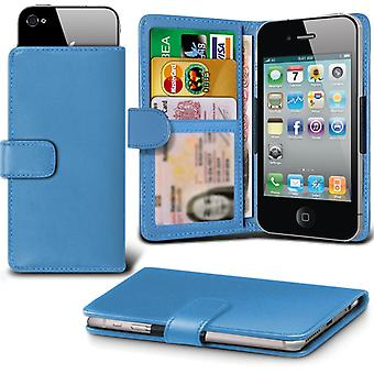 ( Baby Blue +Earphones) Case For HomTom HT3 Faux Leather Holdit Adjustable Wallet HomTom HT3 Cover By i-Tronixs