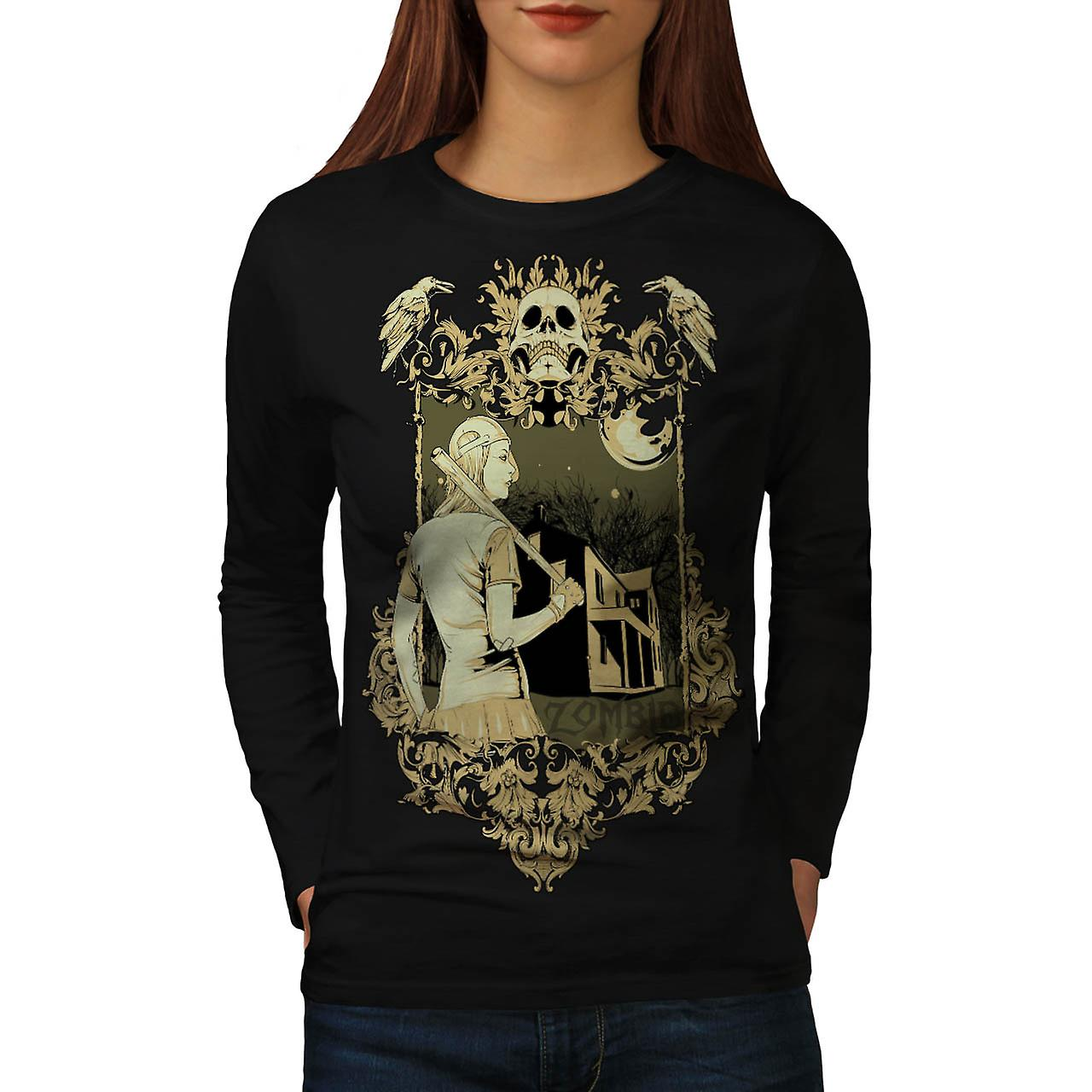 Zombie Baseball Girl Sport Bite Women Black Long Sleeve T-shirt | Wellcoda