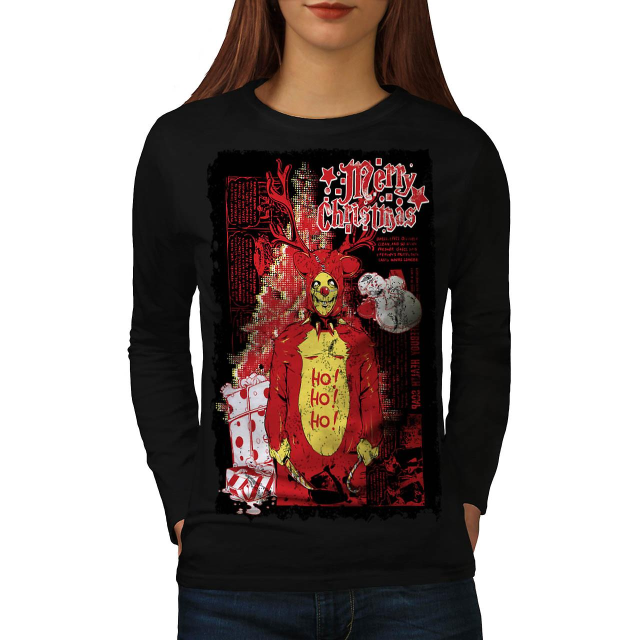 Evil Merry Christmas Reindeer Women Black Long Sleeve T-shirt | Wellcoda