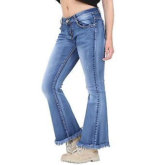 Frayed Cropped Faded Flared Jeans