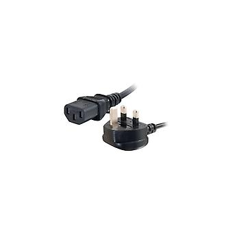 C2g Universal Power Cord power cable-BS 1363 (male) to IEC 60320 C13 (m)-3 m-molded-black