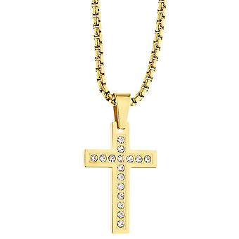 Iced out stainless steel pendant necklace - CZ cross gold