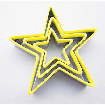 Eddingtons Set of 3 Star Shape Cookie Cutters with Yellow Tops