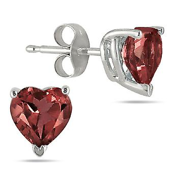Real Heart Shape Garnet Studs, 14K White Gold