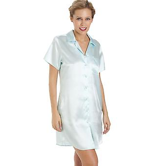 Camille Luxurious Knee Length Mint Green Satin Nightshirt