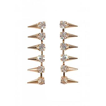 W.A.T Gold Style Clear Crystal Spike Fashion Earrings