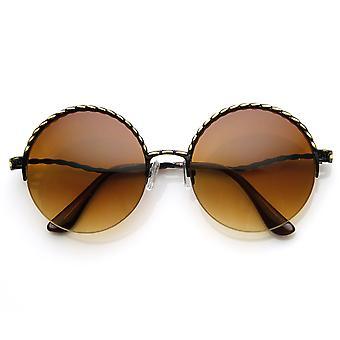 Womens Oversized Semi Rimless Metal Round Sunglasses