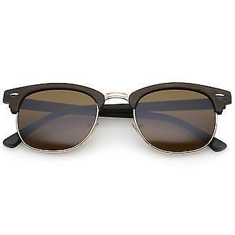 Modern Wood Textured Horn Rimmed Square Lens Half Frame Sunglasses 50mm