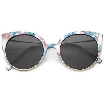 Mezza montatura gatto occhio occhiali da sole Ultra sottili aste donna tondo lente piana 53mm