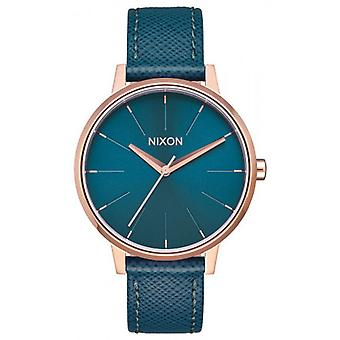 Nixon de Kensington Leather Watch - Rose Gold/Teal