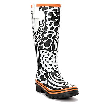 Evercreatures Ladies Knee Rubber Wellies Wild & White Pattern - Various Sizes