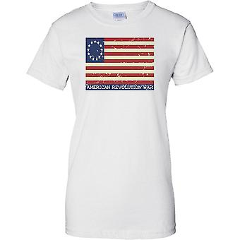 American Revolution - Stars And Stripes Flag - Ladies T Shirt