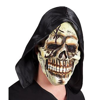 Adults Halloween Skeleton Skull with Hood Latex Face Mask Fancy Dress Accessory