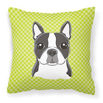 Lime Checkered Boston Terrier   Canvas Fabric Decorative Pillow