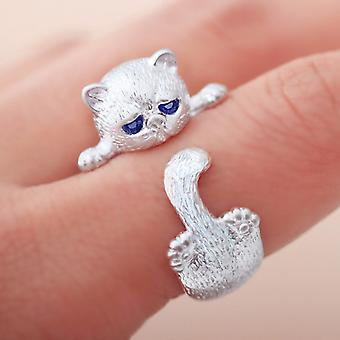 Cute Fluffy Grumpy Cat Wrap Ring  - Ginger Lyne Collection