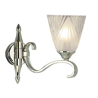Single Light Columbia Nickel Wall Light With Deco Glass Shade - Interiors 1900 63456